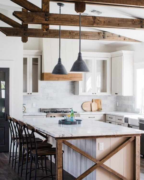 When you have wooden beams like that you have to go all in with #farmhouse or #rustic decor. Love it! #homedecor