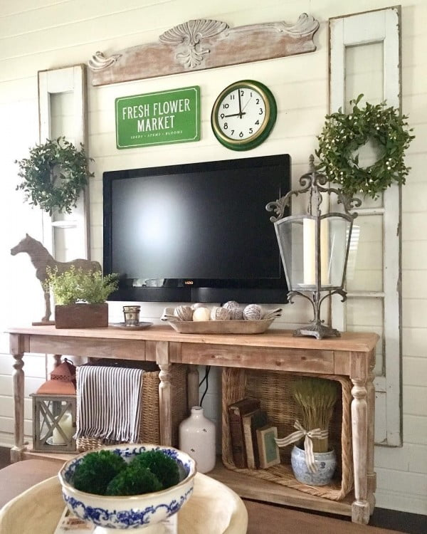 Would change my home entertainment center to this gorgeous #farmhouse setup any day. Love it! #homedecor