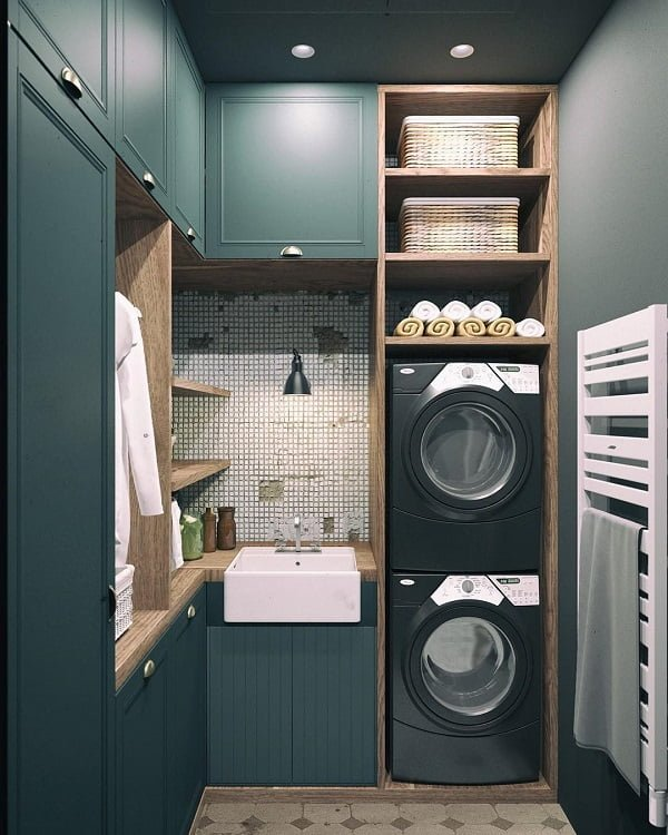 100 Fabulous Laundry Room Decor Ideas You Can Copy - Check out this laundry room decor idea with mini tile accent walls. Love it! #LaundryRoomDesign #HomeDecorIdeas