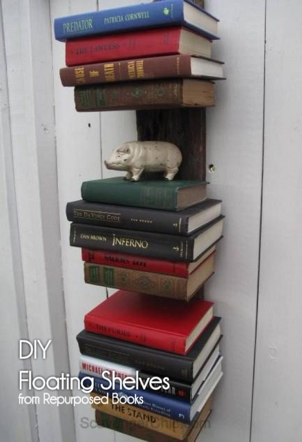 You have to see this tutorial on how to build  repurposed book floating shelves