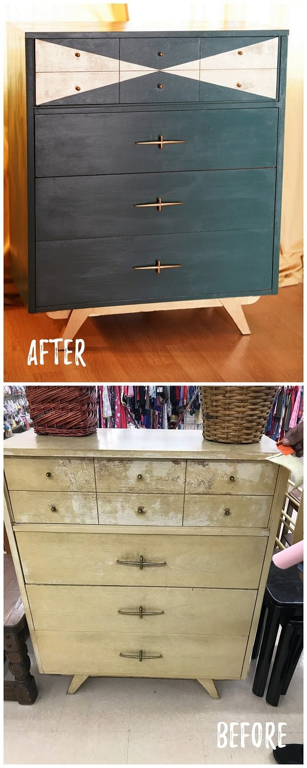 30 Most Impressive DIY Makeovers of Flea Market Finds - Check out this   flip of a dresser with geo paint