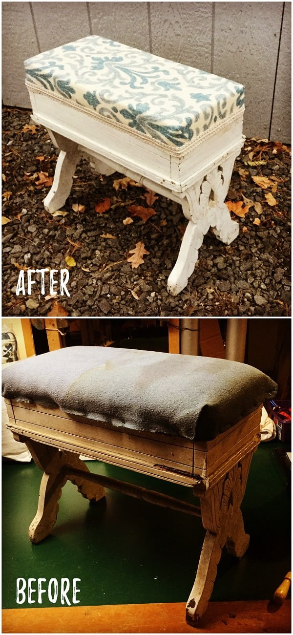30 Most Impressive DIY Makeovers of Flea Market Finds - Check out this   flip of a vintage ottoman
