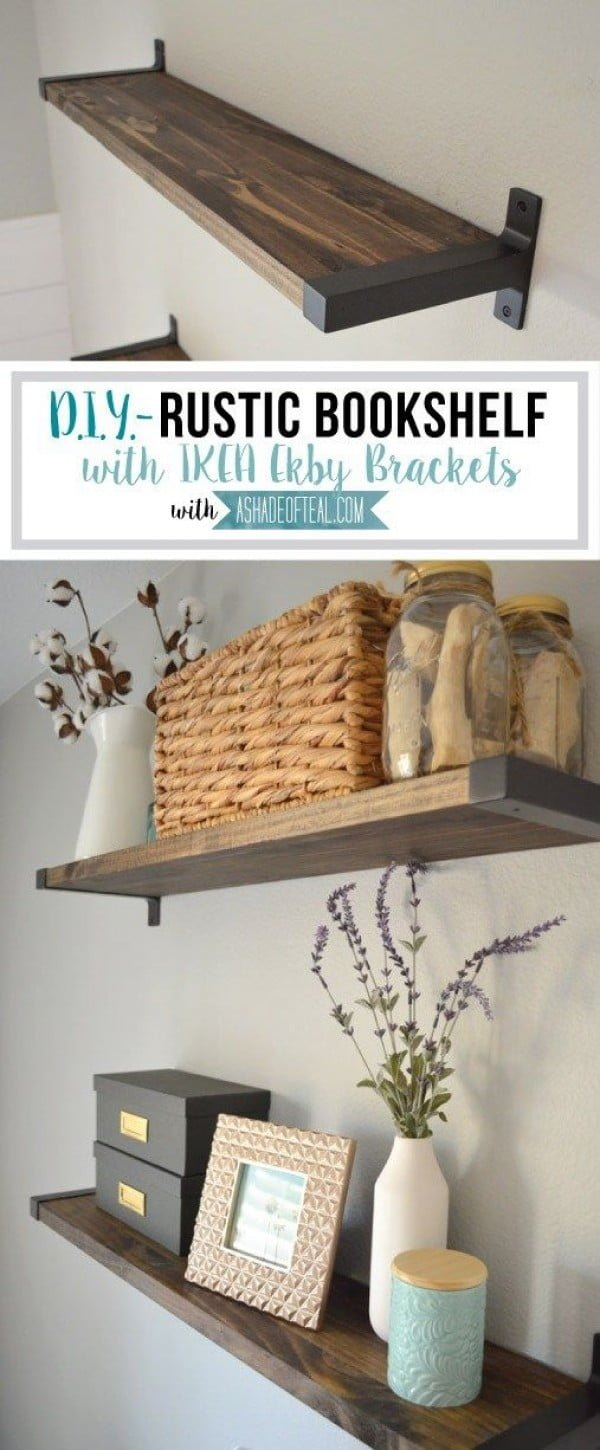 You have to see this tutorial on how to build  rustic floating shelves with IKEA brackets