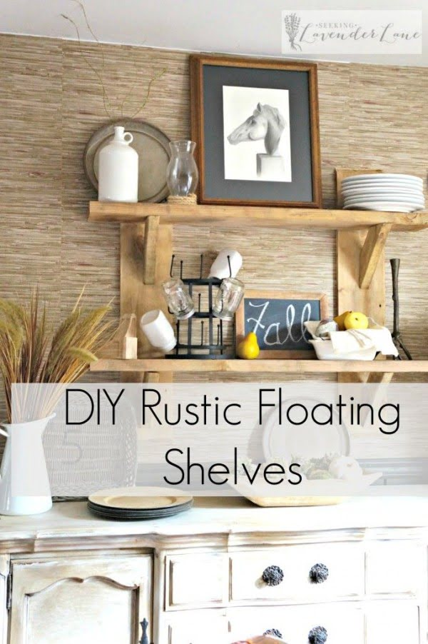 You have to see this tutorial on how to build #DIY farmhouse kitchen floating shelves #HomeDecorIdeas #RusticDecor #KitchenDecor