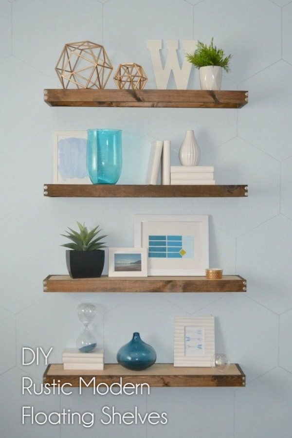 You have to see this tutorial on how to build #DIY rustic floating shelves #HomeDecorIdeas #RusticDecor #LivingRoomDecor