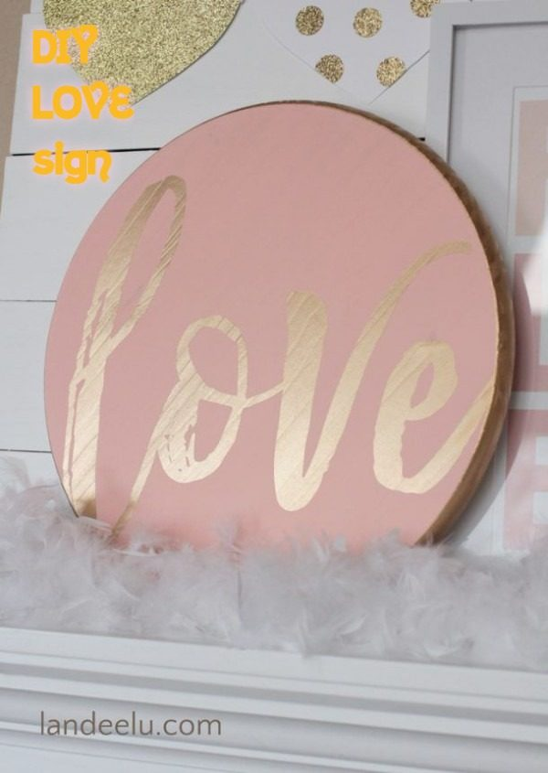 Check out this easy idea on how to make a #DIY love sign for #ValentinesDayDecor #ValentinesDayCrafts #ValentinesIdeas