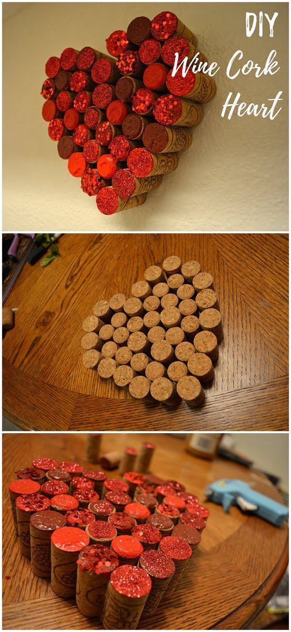 Check out this easy idea on how to make a  wine cork heart wall art for