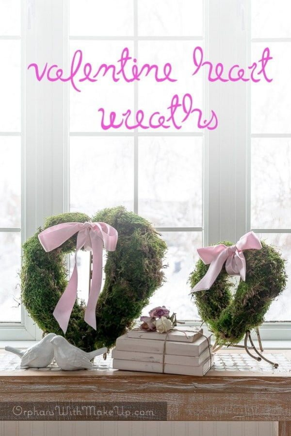 Check out this easy idea on how to make a #DIY heart shaped moss wreath for #ValentinesDayDecor #ValentinesDayCrafts #ValentinesIdeas