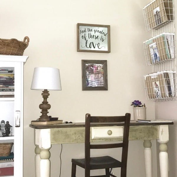 100 Charming Farmhouse Decor Ideas for Your Home Office - Check out this #farmhouse style home office decor with a vintage desk and mail organizers. Love it! #HomeDecorIdeas #HomeOfficeIdeas #FarmhouseStyle
