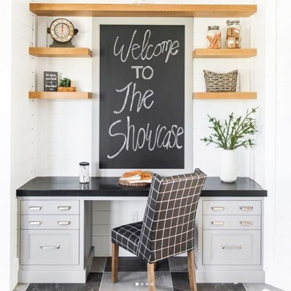 100 Charming Farmhouse Decor Ideas for Your Home Office - Check out this #farmhouse style home office decor with a repurposed desk and floating shelves. Love it! #HomeDecorIdeas #HomeOfficeIdeas #FarmhouseStyle