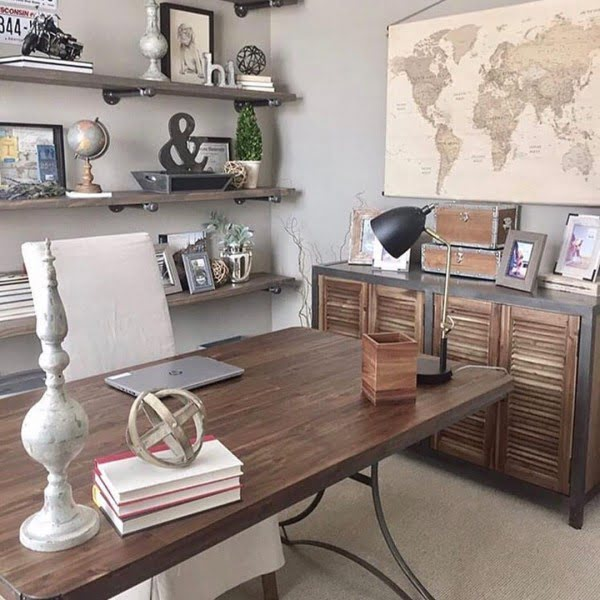 100 Charming Farmhouse Decor Ideas for Your Home Office - Check out this #farmhouse style home office decor with rustic cabinets and a large wall map. Love it! #HomeDecorIdeas #HomeOfficeIdeas #FarmhouseStyle
