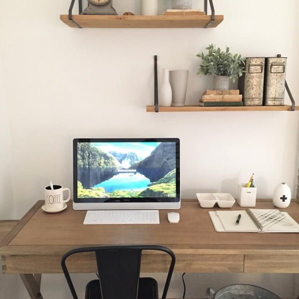 100 Charming Farmhouse Decor Ideas for Your Home Office - Check out this #farmhouse style home office decor with open shelving and rustic accents. Love it! #HomeDecorIdeas #HomeOfficeIdeas #FarmhouseStyle