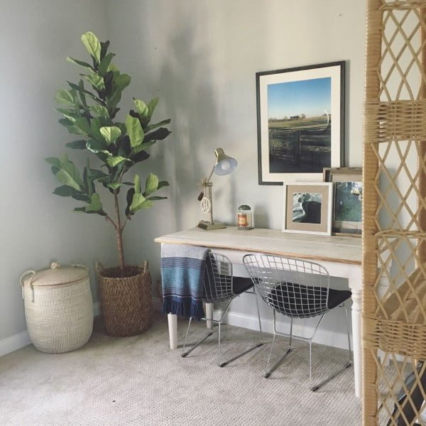 100 Charming Farmhouse Decor Ideas for Your Home Office - Check out this #farmhouse style home office decor with framed wall art. Love it! #HomeDecorIdeas #HomeOfficeIdeas #FarmhouseStyle