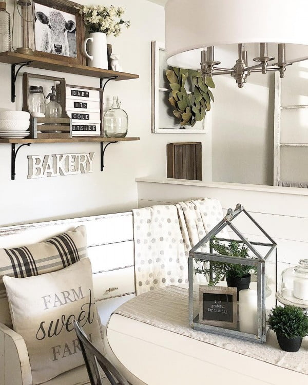 Check out this #farmhouse #kitchen decor idea with rustic open shelves. Love it! #KitchenDecor #HomeDecorIdeas