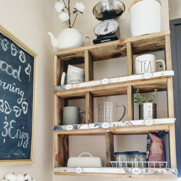 100 Stunning Farmhouse Kitchen Decor Ideas You Have to Try - Check out this   decor idea with rustic shelves. Love it!