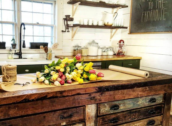Check out the reclaimed wood counter. Makes stunning #farmhouse #kitchen decor! #KitchenDecor #HomeDecorIdeas