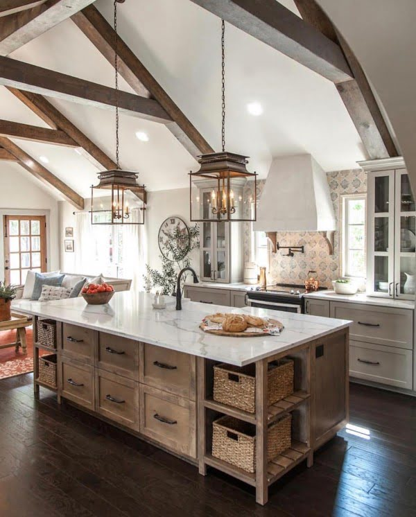 Check out this #farmhouse #kitchen decor idea with rustic beams. Love it! #KitchenDecor #HomeDecorIdeas