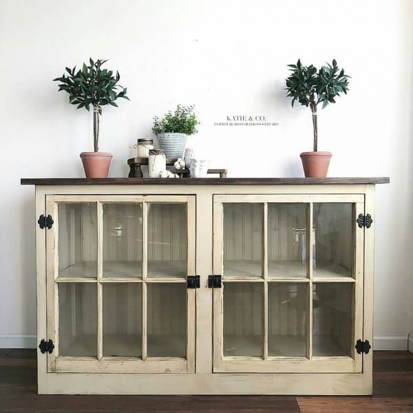30 Most Impressive DIY Makeovers of Flea Market Finds - Check out this   flip of old windows used as cabinet doors