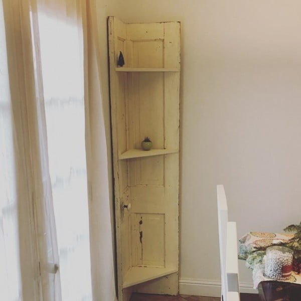 30 Most Impressive DIY Makeovers of Flea Market Finds - Check out this   flip of an old door turned into a corner shelf