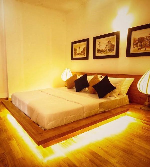 Impressive underlit floating bed design. Love it! #BedroomIdeas #BedroomDecor #HomeDecorIdeas
