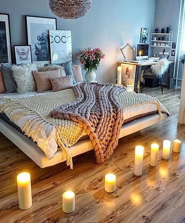 Love the cozy bedroom decor with a floating bed design #BedroomIdeas #BedroomDecor #HomeDecorIdeas