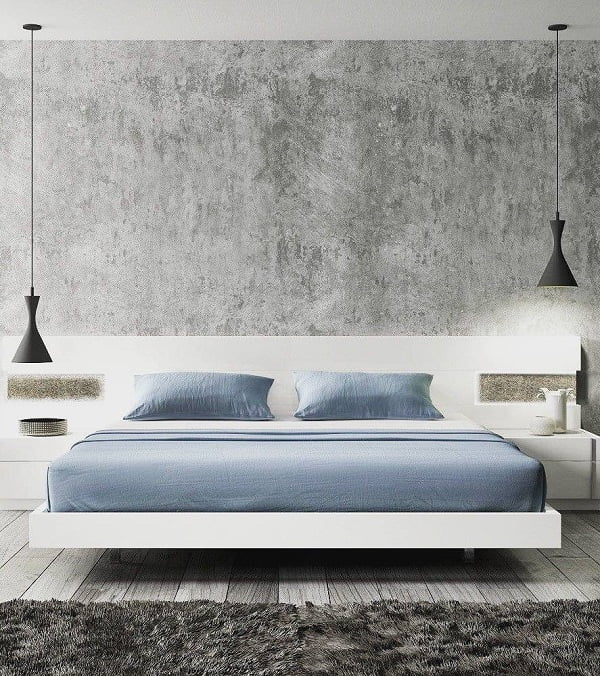 Love the modern industrial decor look and the sleek floating bed design #BedroomIdeas #BedroomDecor #HomeDecorIdeas