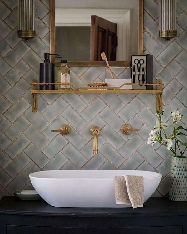 Herringbone wall tiles for awesome  decor. Love this!