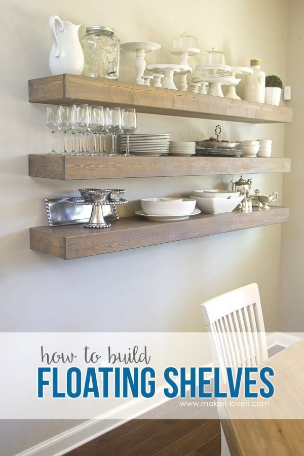 You have to see this tutorial on how to build  floating shelves for a dining area