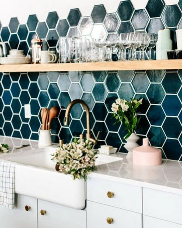 Check out this ombre hexagon tile  and the brilliant . Love it!