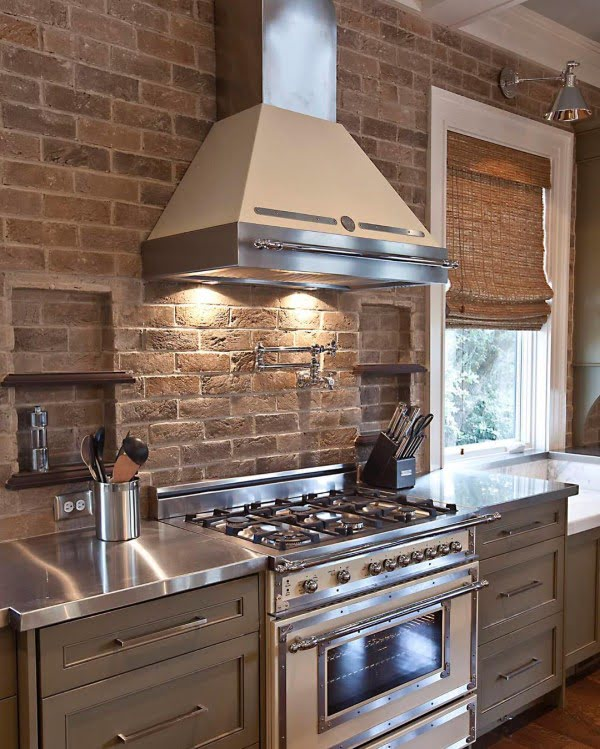 Check out this exposed brick #KitchenBacksplash and the brilliant #KitchenDecor. Love it! #HomeDecorIdeas