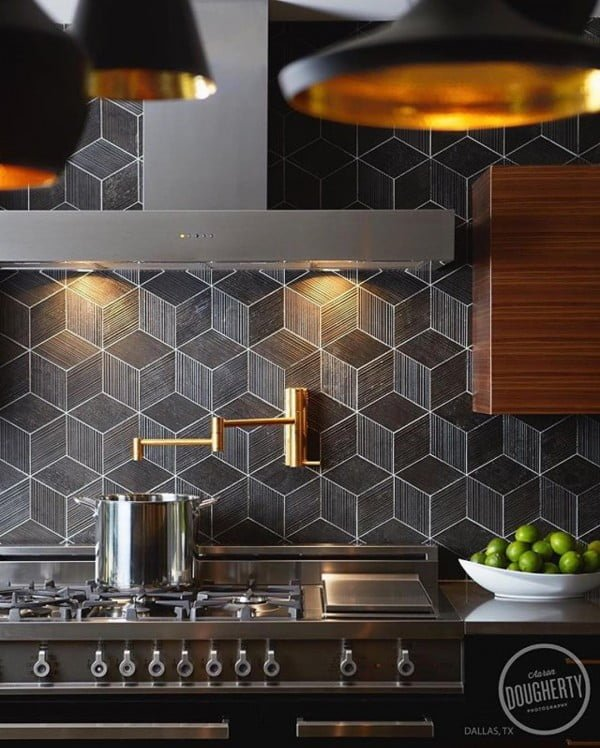 Check out this 3D etched tile #KitchenBacksplash and the brilliant #KitchenDecor. Love it! #HomeDecorIdeas