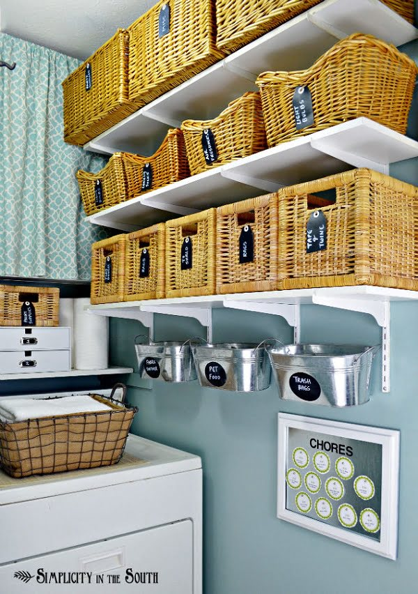 100 Fabulous Laundry Room Decor Ideas You Can Copy - You have to see this laundry room decor idea with wicker baskets and a bulletin board. Love it! #LaundryRoomDesign #HomeDecorIdeas