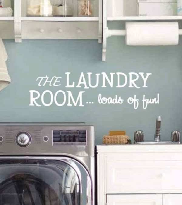 100 Fabulous Laundry Room Decor Ideas You Can Copy - Check out this laundry room decor idea with wall decals. Brilliant! #LaundryRoomDesign #HomeDecorIdeas