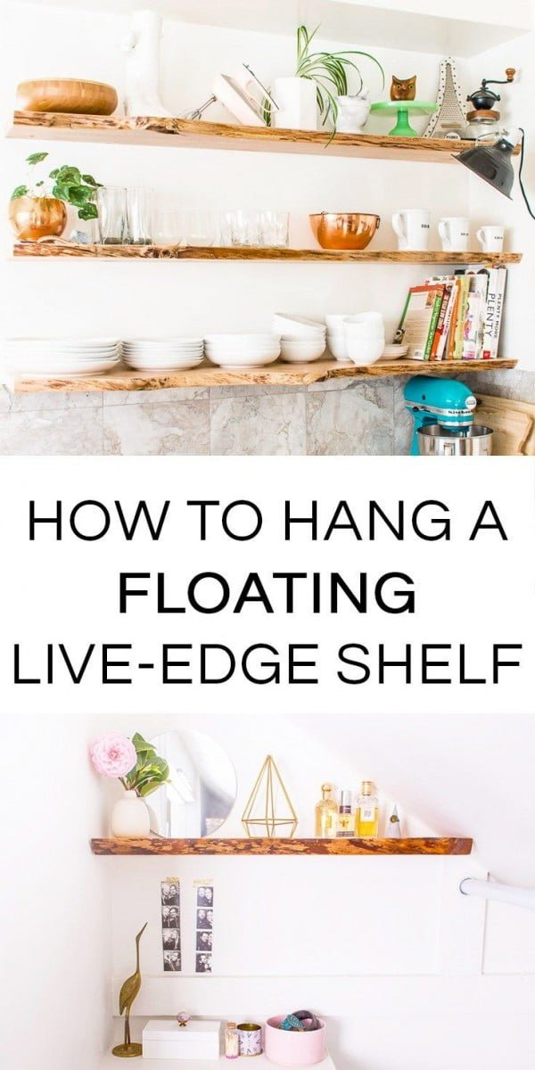 You have to see this tutorial on how to hang  live edge floating shelves