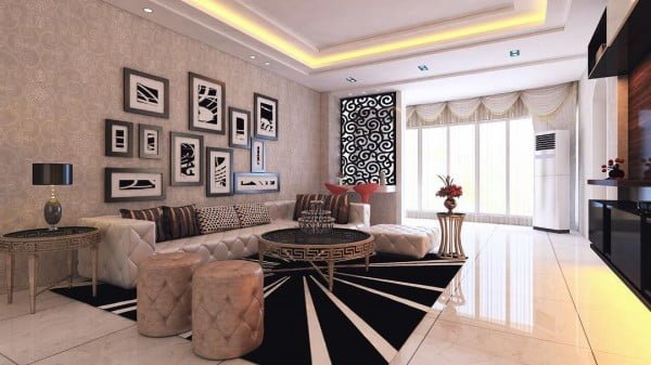 Love this living room decor idea with recessed ceiling #LivingRoomDecor #HomeDecorIdeas