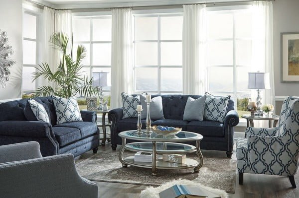 Navy and White Palette Living Room Idea