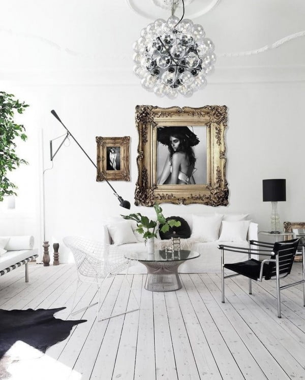 White and Black Living Room Idea