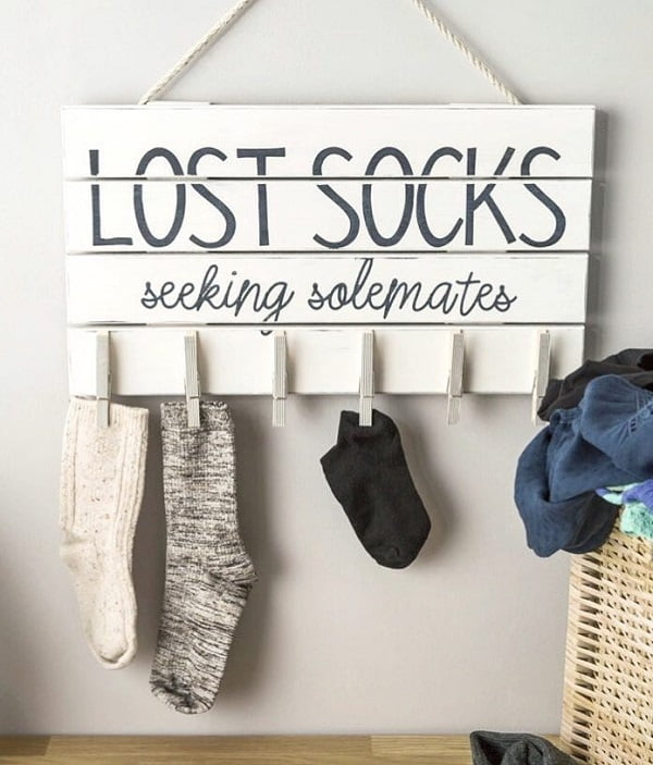 100 Fabulous Laundry Room Decor Ideas You Can Copy - Love the idea for a Lost Socks sign in laundry room decor