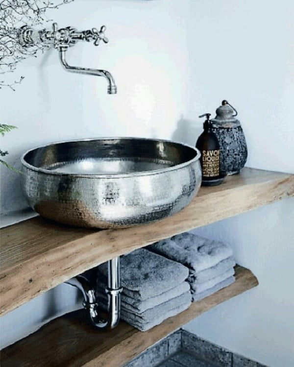 Metallic sinks and live edge vanity - such a great combination of styles. Love it!