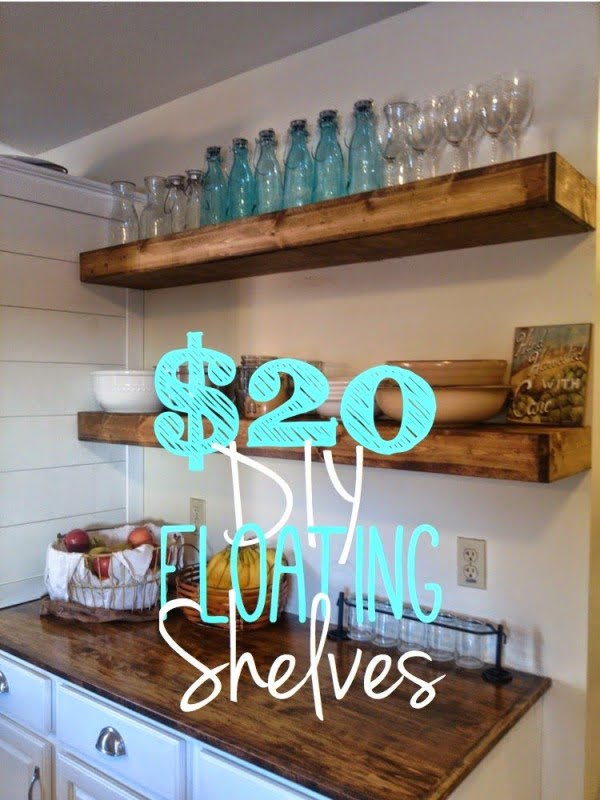 You have to see this tutorial on how to build  floating shelves for $20 each