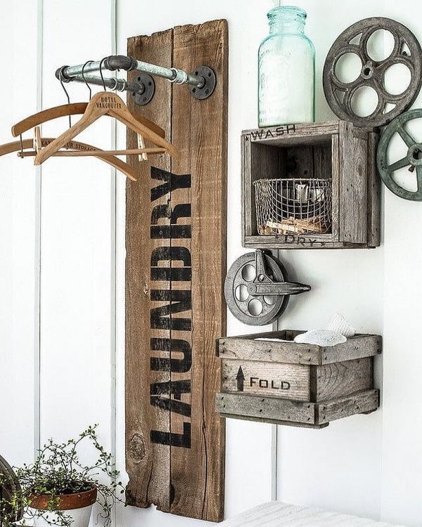 100 Fabulous Laundry Room Decor Ideas You Can Copy - Check out this laundry room decor idea with repurposed #wood #rustic wall sign. Love it! #LaundryRoomDesign #HomeDecorIdeas