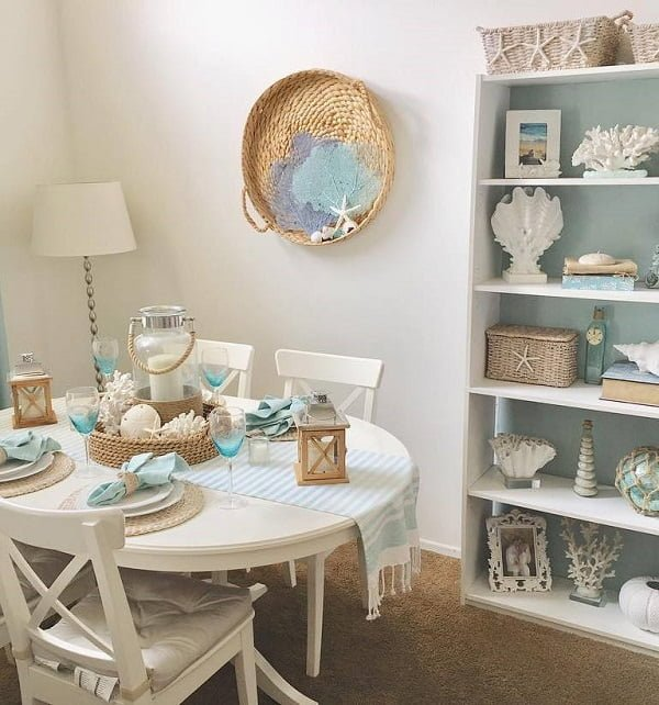 Love these  coastal colors in this dining area look