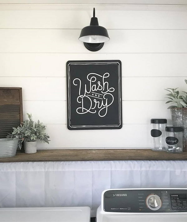 100 Fabulous Laundry Room Decor Ideas You Can Copy - Check out this laundry room decor idea with shiplap and #rustic accents. Love it! #LaundryRoomDesign #HomeDecorIdeas