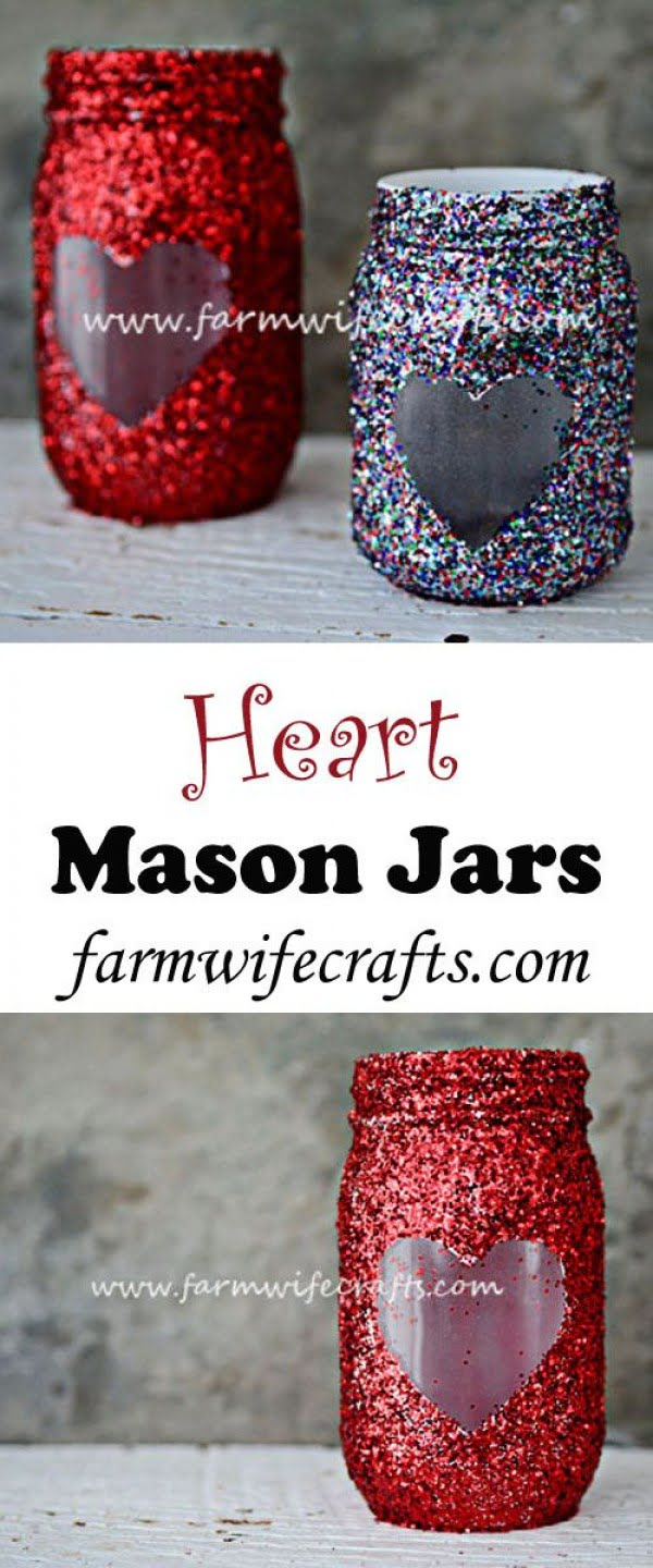 Check out this easy idea on how to make #DIY heart mason jars for #ValentinesDayDecor #ValentinesDayCrafts #ValentinesIdeas