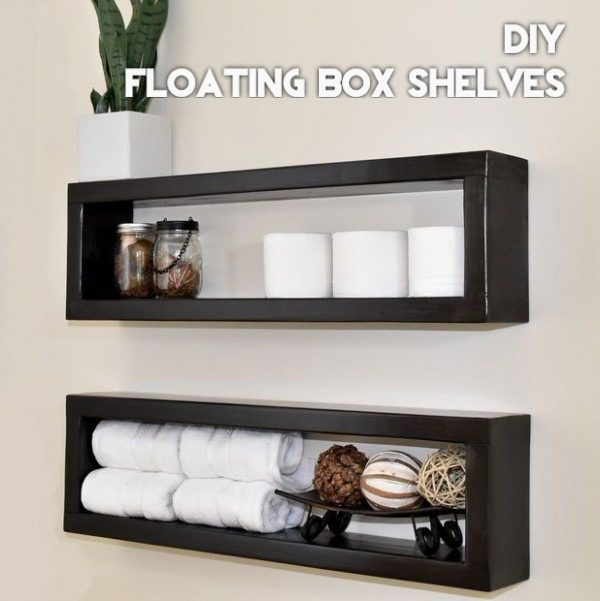 You have to see this tutorial on how to build #DIY painted floating shelves #HomeDecorIdeas #BathroomDecor