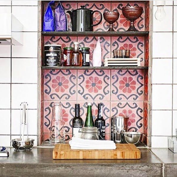 Check out this unusual kitchen design with tile backsplash shelving. Love it!
