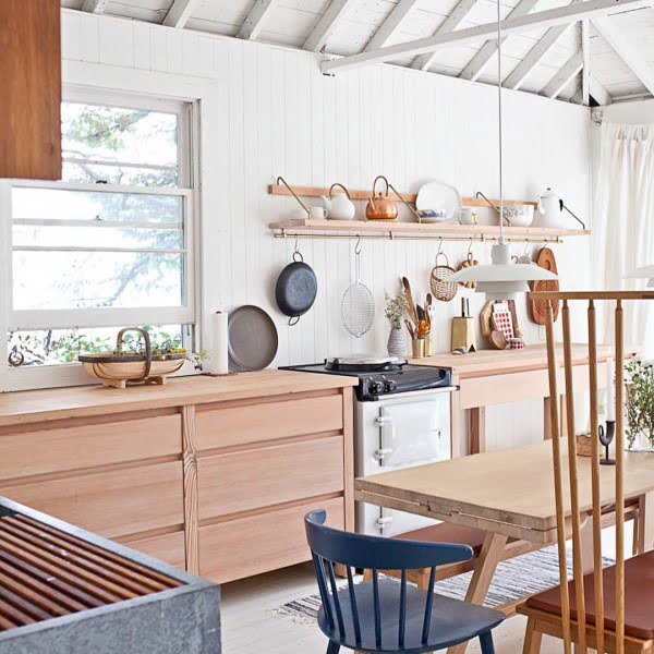 Check out this unusual kitchen in #rustic coastal design. Love it! #KitchenDecor #KitchenDesign #HomeDecorIdeas
