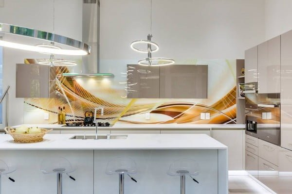 Check out this unusual kitchen design with abstract art backsplash. Love it! #KitchenDecor #KitchenDesign #HomeDecorIdeas