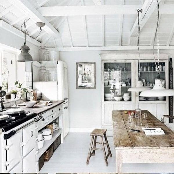 Check out this unusual white washed farmhouse kitchen design. Love it! #KitchenDecor #KitchenDesign #HomeDecorIdeas