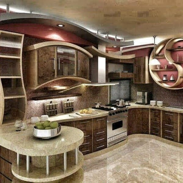 Check out this unusual curvy kitchen design. Love it! #KitchenDecor #KitchenDesign #HomeDecorIdeas